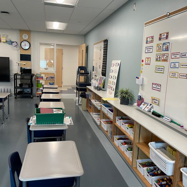 front of a classroom,