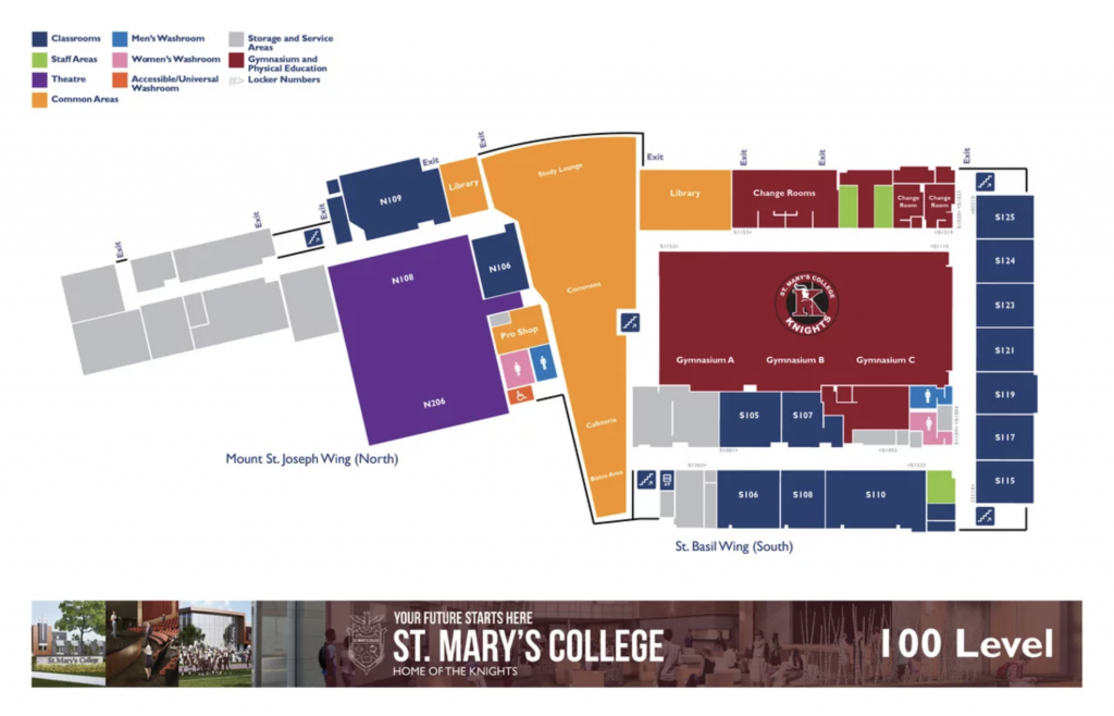 St. Mary's College Map - Level 1