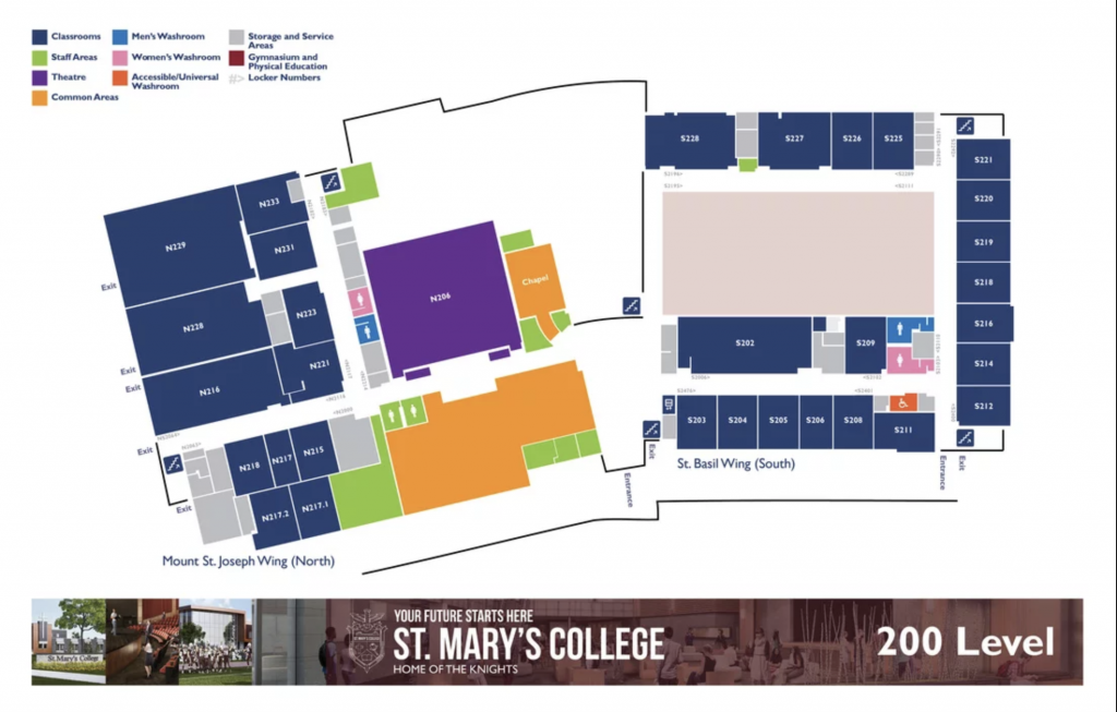 St. Mary's College Map - Level 2